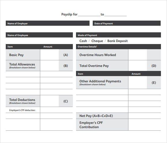 Free Payslip Templates 21+ Printable Word, Excel  PDF Best