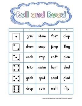 Roll and Read (Consonant Blends, Initial and Final) is a learning activity designed to meet a number of instructional needs. For use with whole group guided practice or independent practice. This activity can be used to promote blending, segmenting and/or word reading. .
