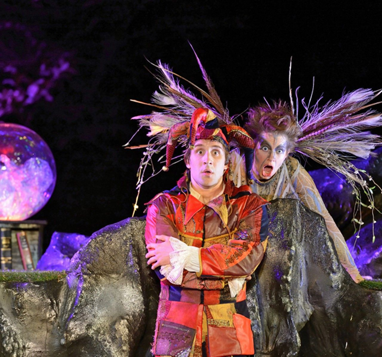 COURTESY OF THE TENNESSEE SHAKESPEARE COMPANY - Wolfe Coleman (Trinculo) and Caley Milliken (Ariel)in The Tempest