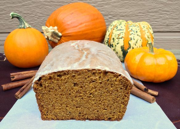 Pumpkin bread. Make without glaze; sub 1 c. whole wheat flour for 1 c. Of the flour; sub 1 c. applesauce for 1 c. of the oil; bake 1 hr. 20 min.