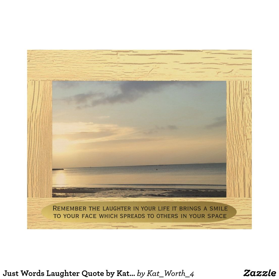 Just Words Laughter Quote by Kat Worth Wood Wall Decor