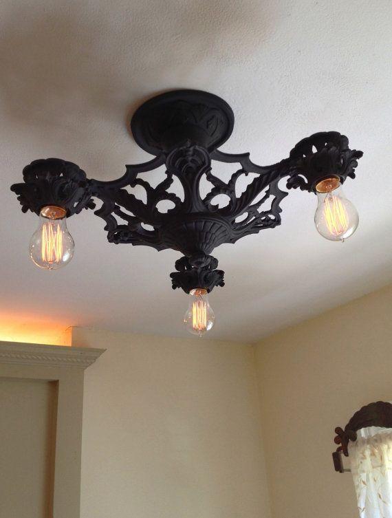 1910 S Semi Flush Mount Ceiling Fixture Refinished Etsy Ceiling Fixtures Gothic House Antique Light Fixtures