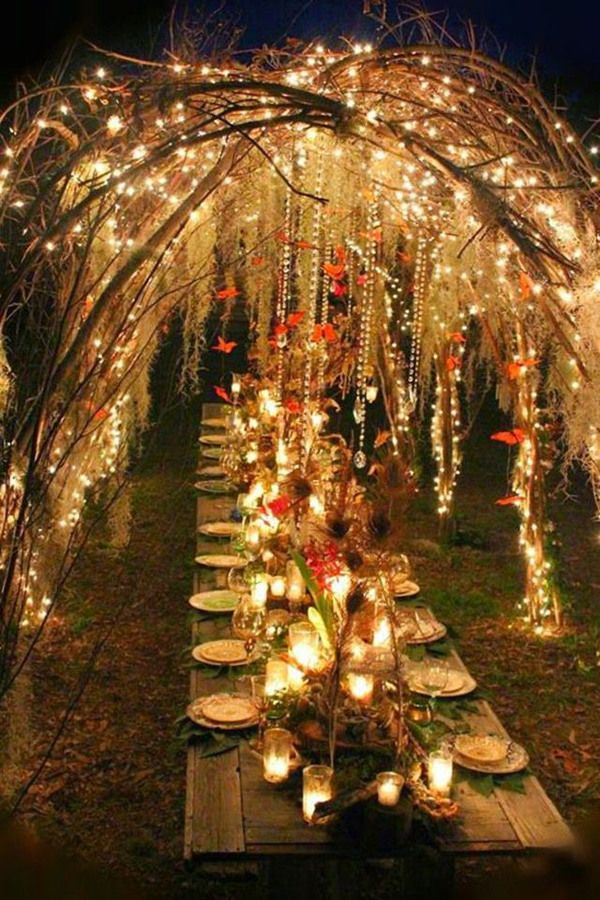 Lighting For Outdoor Wedding 25 perfect and most romantic boho wedding ideas reception boho magic boho wedding reception with twinkle lights workwithnaturefo