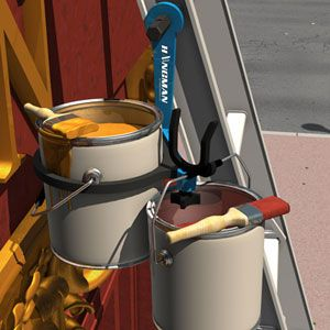 Make your paint job easier with The Hangman. Simply attach the Hangman to your extension ladder and it holds two cans of paint so there is no need to go up and down the ladder!