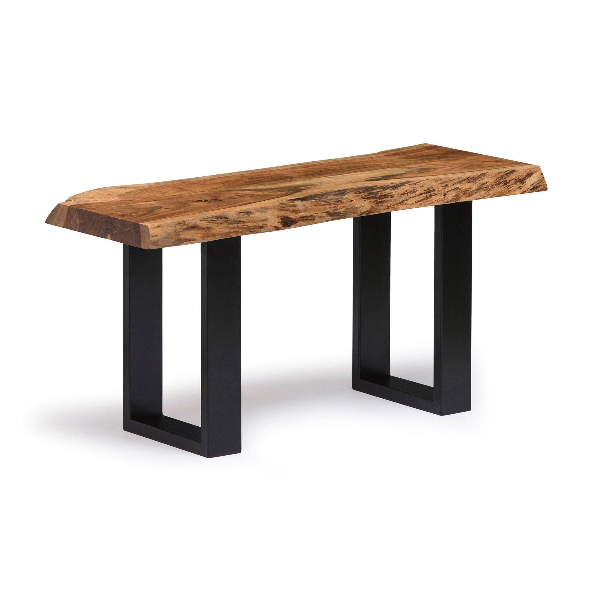 Alaterre Furniture Alpine Natural Brown Live Edge 36 Bench Metal