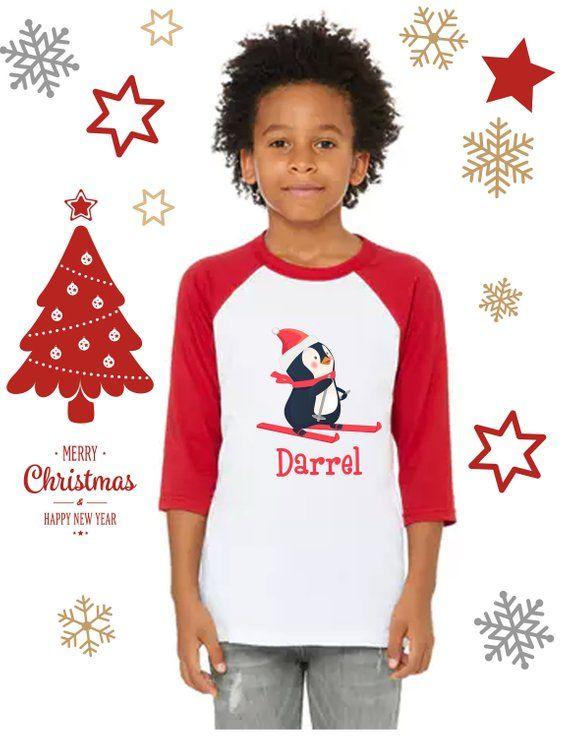 226a52b4d32e Christmas matching Family shirts with custom name.. Christmas raglan ...