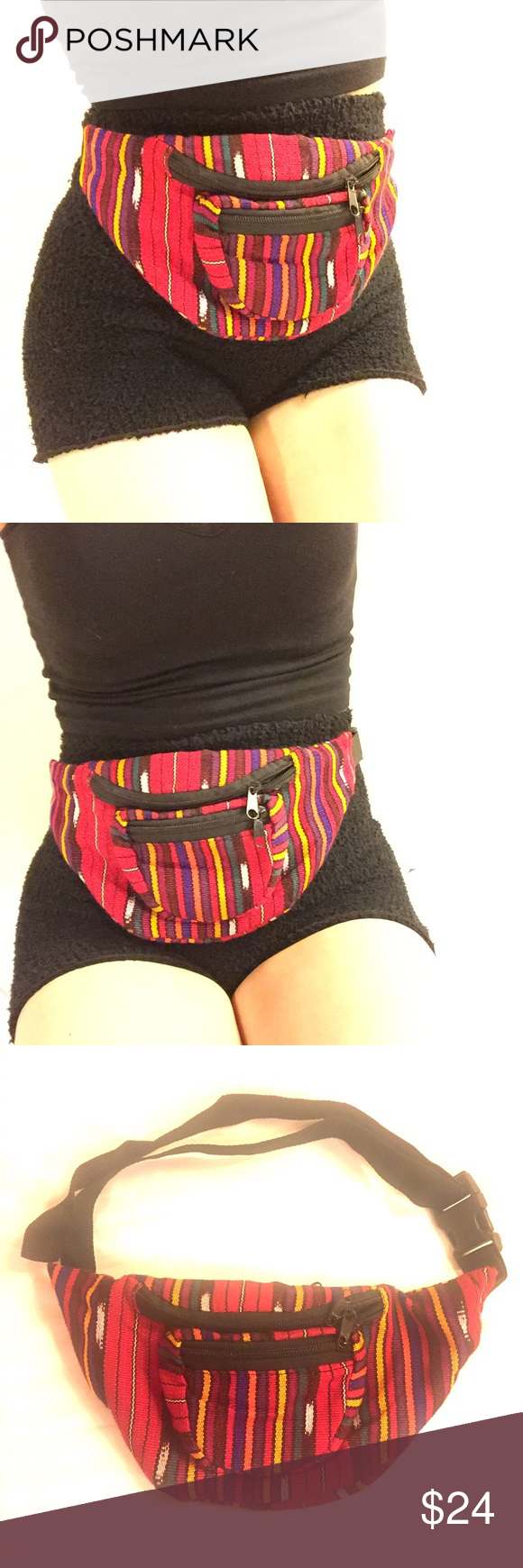 Tribal Baja Print Fanny Pack Bum Belt Bag Mexican Boutique
