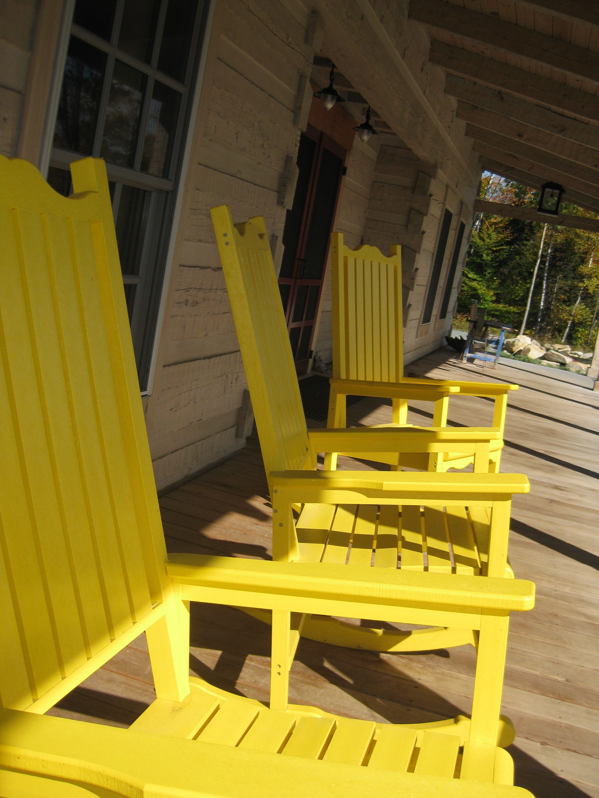 Yellow Rocking Chairs Moose Mountain Porch