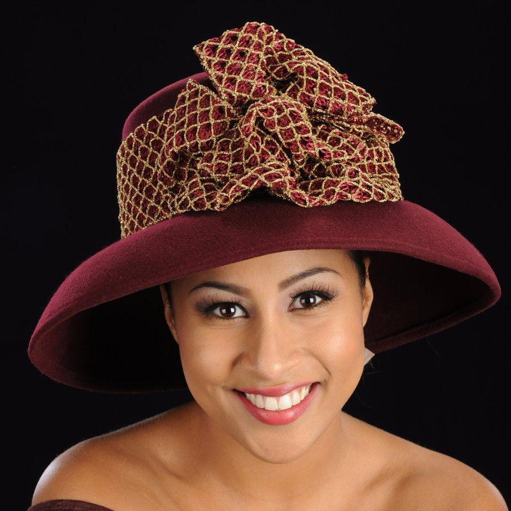 Fw burgundy and gold wool dress hat products