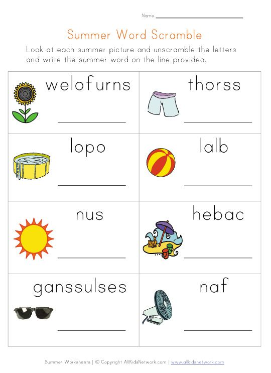 summer word scramble worksheet | Kids Learning Activities ...