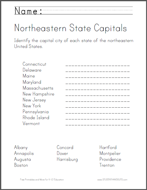Worksheets States And Capitals Worksheet states and capitals map worksheets printable united maps outline capitals