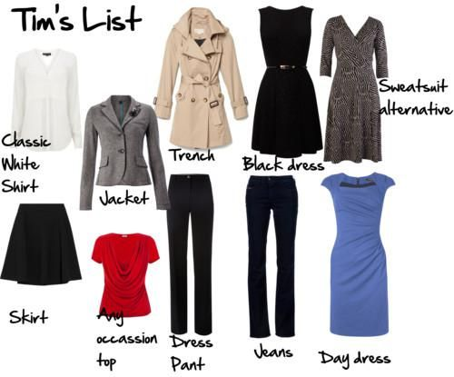 a1f4f9a099 Tim Gunn's List of What Every Woman Should Have in Her Wardrobe. Here is  Tim Gun's List Basic Black Dress Trench Coat Dress Pants Classic White  Shirt Jeans ...