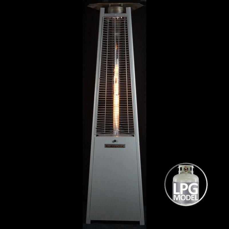 Firestick Lpg Gas Outdoor Patio Heater In Silver Patio Heater Outdoor Patio Outdoor Heaters