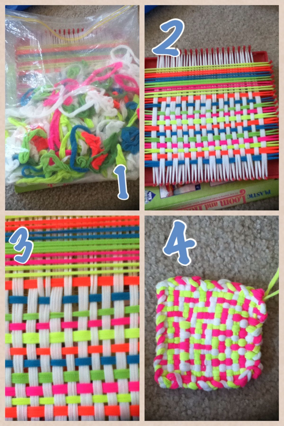 White pot holders for crafts - Homemade Pot Holder First U Pick A Color Then You String It Threw The White Then