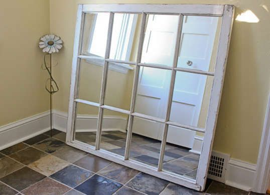 7 New Ways To Use Old Windows Diy Window Frame Mirrored