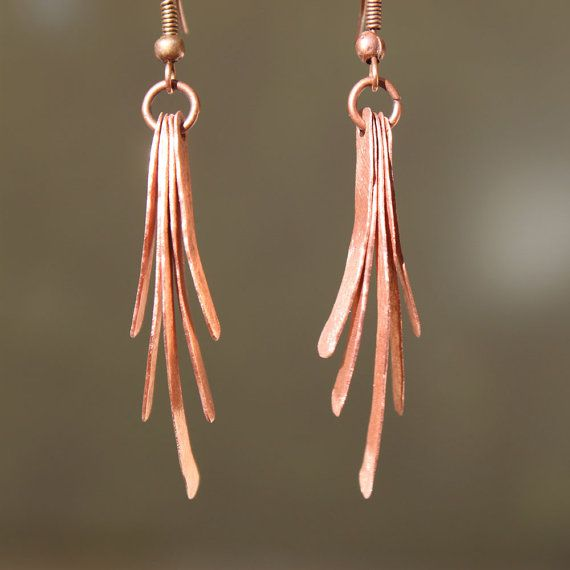 Copper Earrings - Hand Forged Earrings - Dangle Hammered Earrings - Copper jewelry