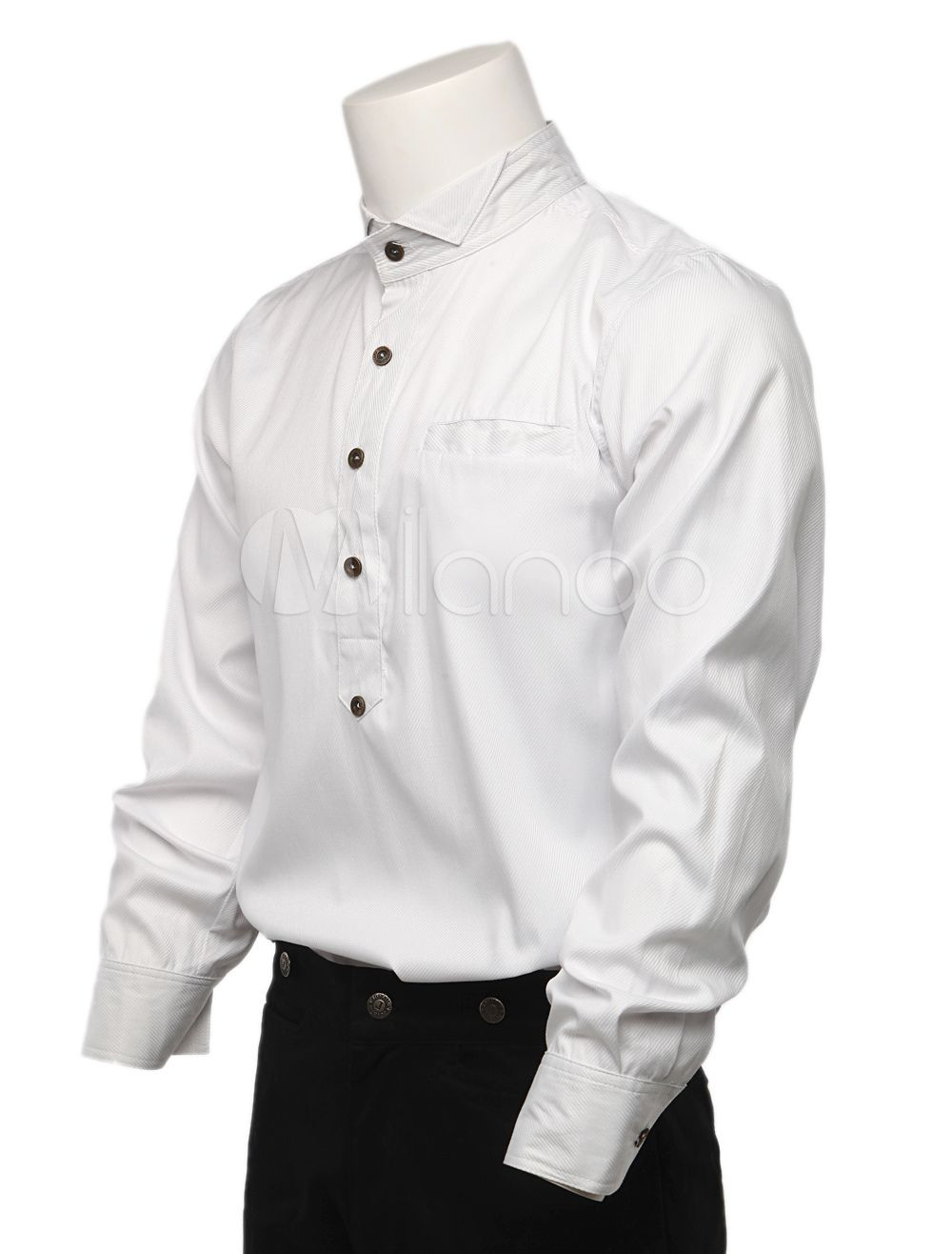 Cozy White Cotton Long Sleeves Steampunk Shirt For Men   Steampunk ...