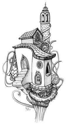 fairy tree house coloring pages - Google Search | adult coloring ...