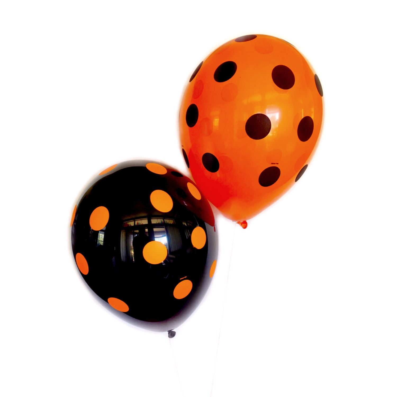 Polka Dot Halloween Balloons - Orange and Black Balloons ...