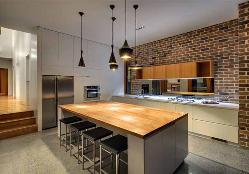 Marvelous Castlecrag Residence By CplusC Architectural Workshop    Exposed Brick,  Cool Lights, Seats, Wood/furniture Contrast