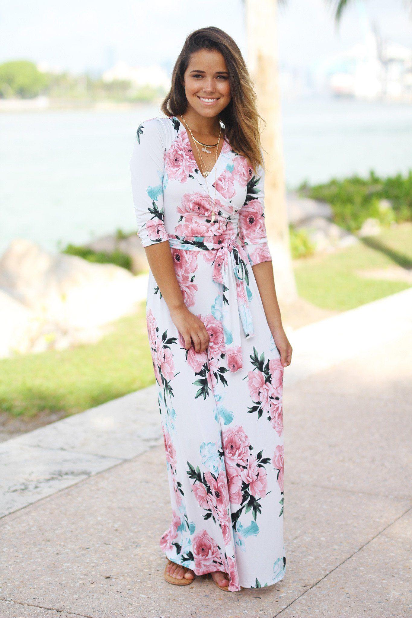 9918a9d54ed Ivory Floral Wrap Maxi Dress