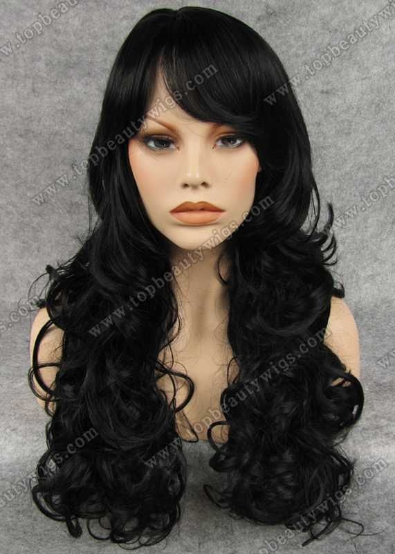 black wig with curls and bangs