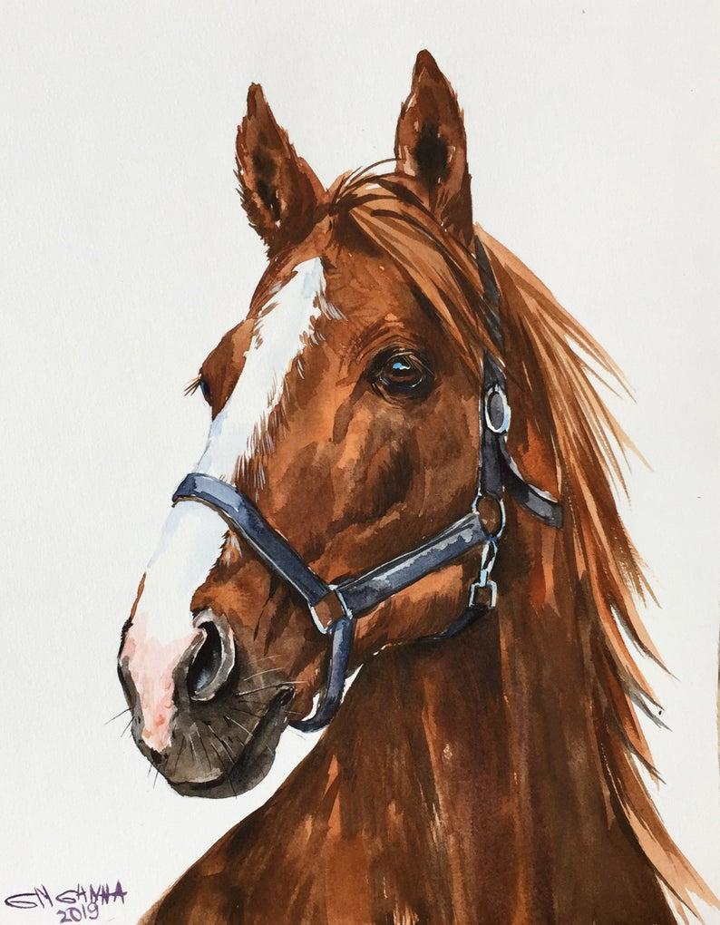 Custom Horse Portrait Horse Painting Commission Horse Portrait Pet Memorial Personalized Horse Portrait Original Watercolor Painting Horse Painting Watercolor Horse Horse Portrait