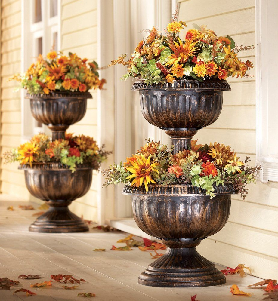 24 22 Amazon Com Tiered Antique Finish Plastic Urn Planter By