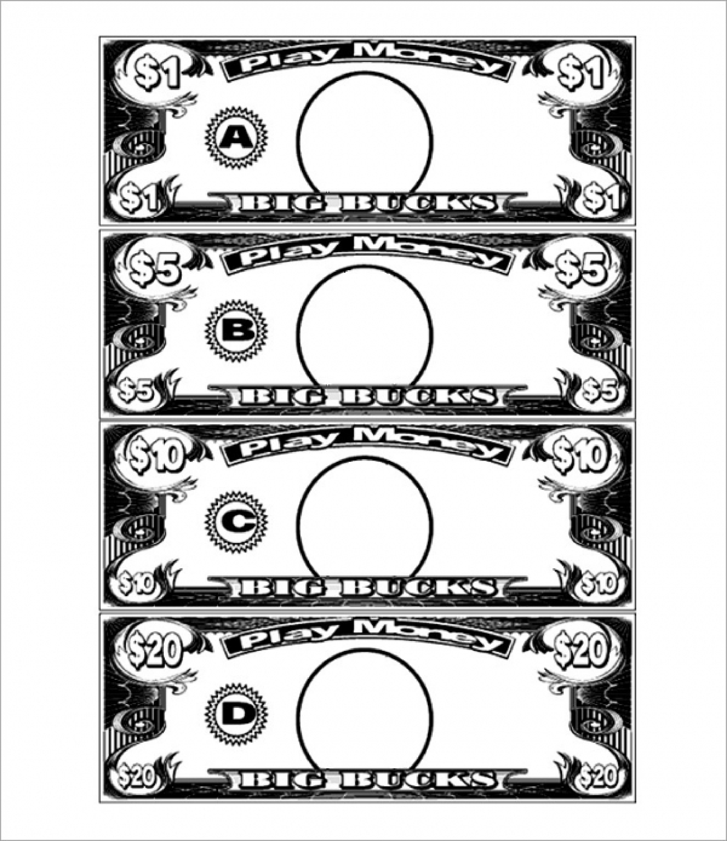 5 Dollar Play Money Template