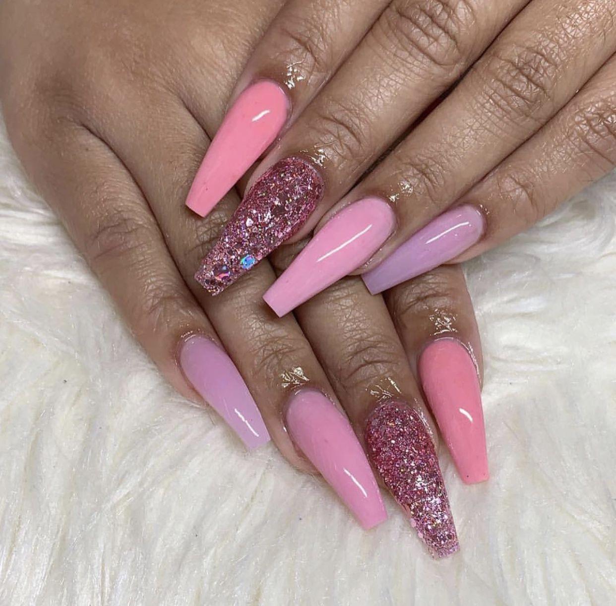 Pin By L E X I On N A I L S Pink Acrylic Nails Hair