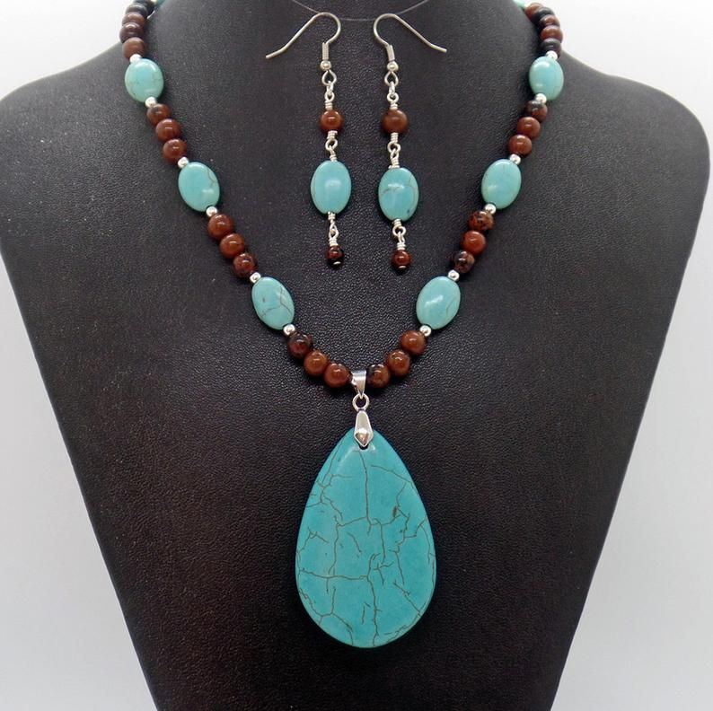 Jewelry Set for Women Turquoise Magnesite Beaded Necklace and Earrings Stone Beaded Necklace and Earrings Turquoise Jewelry Set