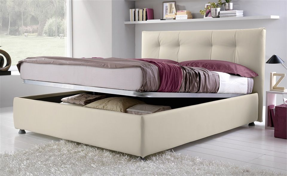 Letto contenitore panna Idee per piccole camere da letto