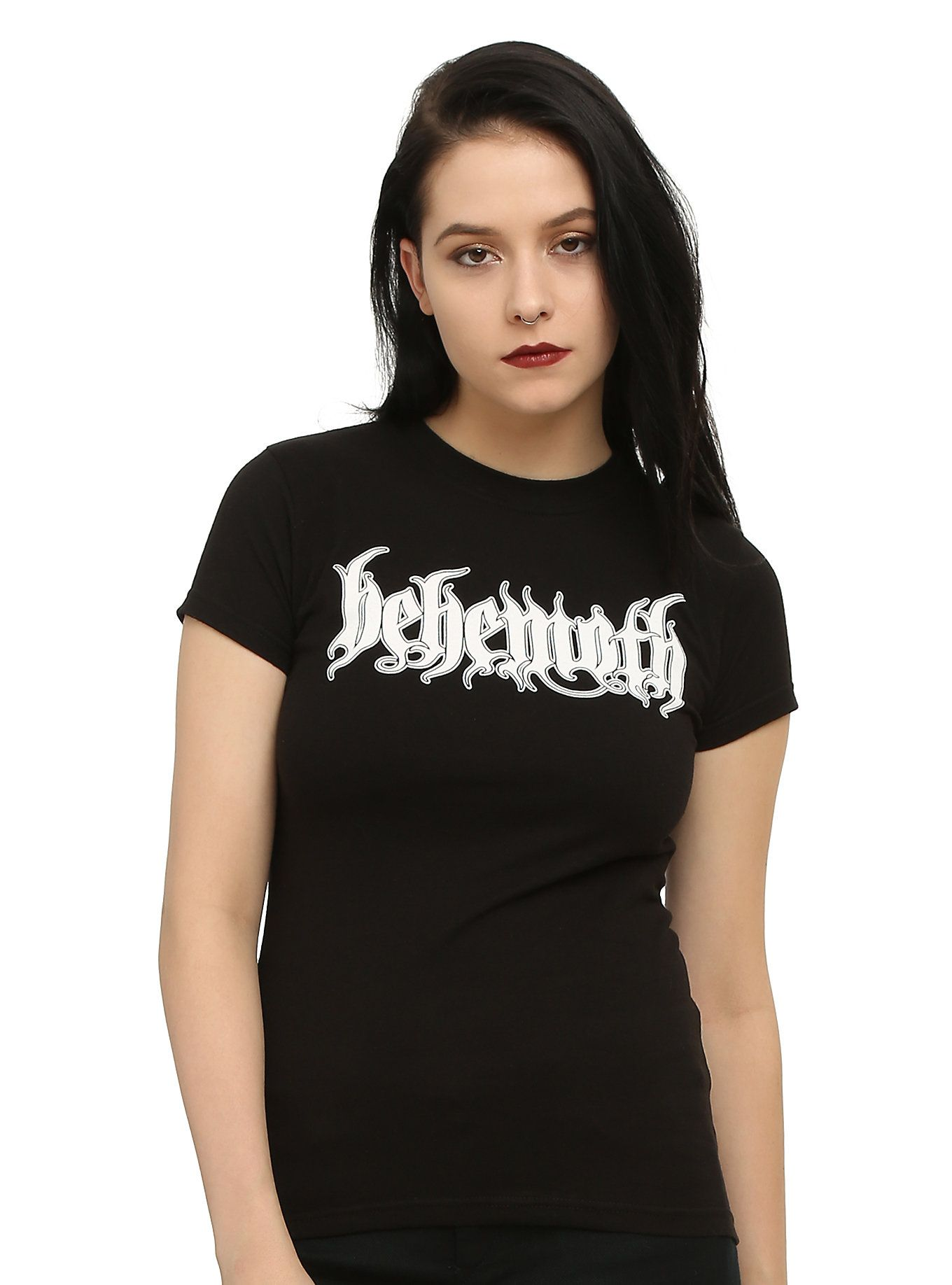 Black t shirt on girl -  P Fitted Black Tee With Basic White Behemoth Logo Design On Front