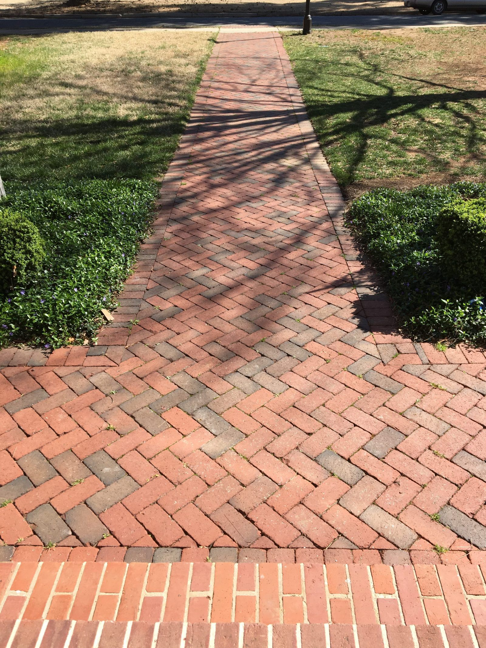 rumbled full range clay pavers on a front walkway. pine hall brick