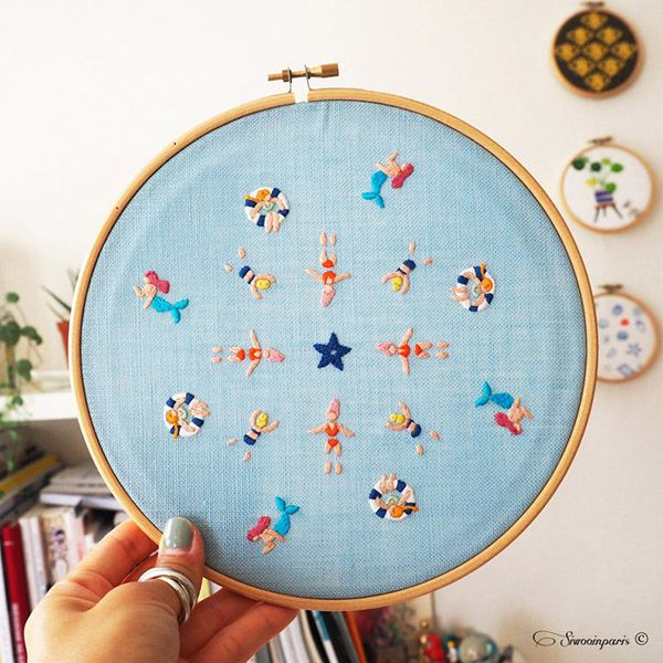 Summer embroidery patterns - for the beach vibes in your home - Pumora - all about hand embroidery
