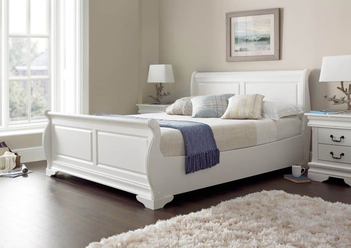 Beautiful Wooden Sleigh Beds White Wooden Bed White Sleigh Bed