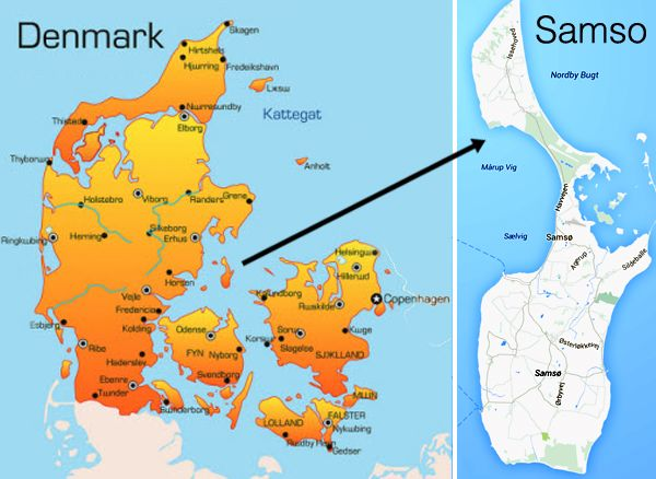 Map of samso an island in denmark samso worlds first 100 map of samso an island in denmark samso worlds first 100 renewable gumiabroncs Gallery