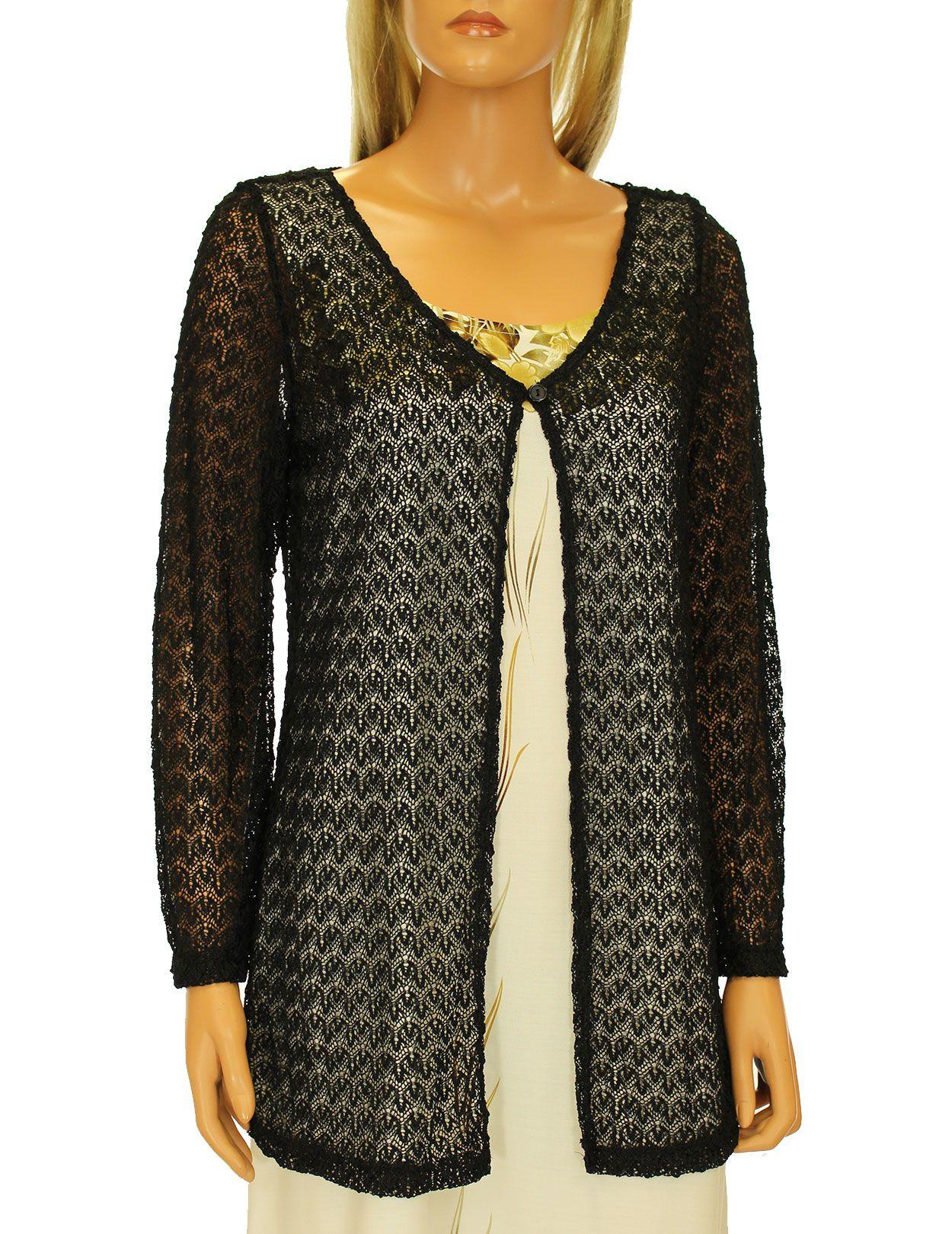 Check out the deal on Long Sleeves Black Crochet Bolero Cardigan at Shaka Time Hawaii Clothing Store Free Shipping from Hawaii #cardigan #hawaiianclothes #womensclothes #aloha