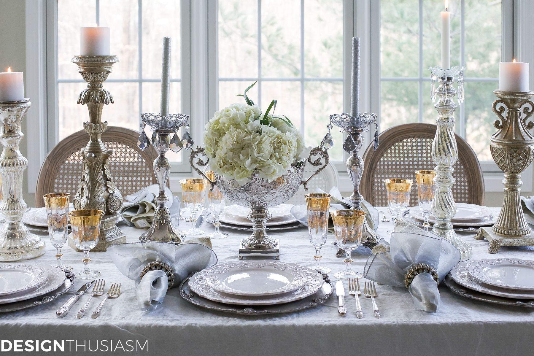 New Year S Day Brunch Table Setting Mixing Gold And Silver Brunch Table Setting Brunch Table Table Settings