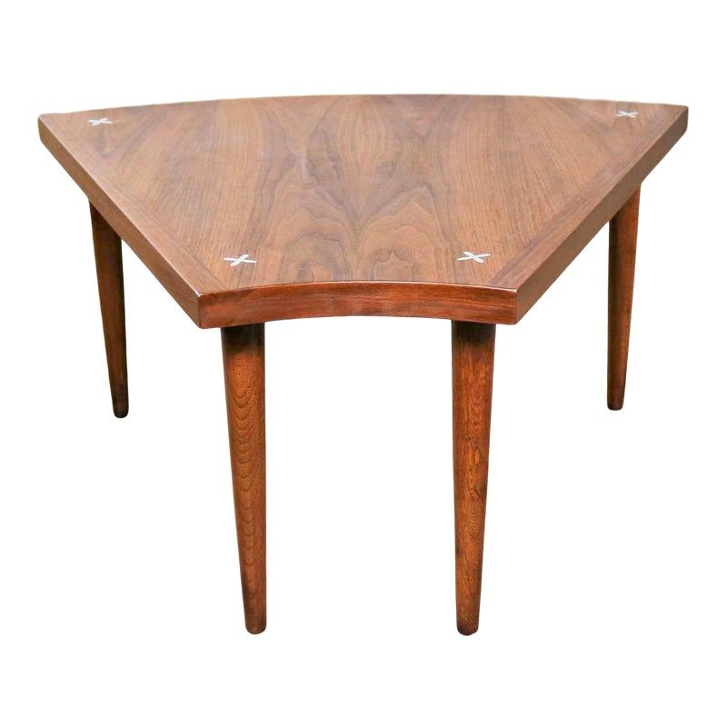 Walnut Wedge Shape End Table Attributed To Merton Gershun For