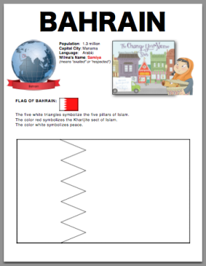Bahrain Flag Coloring Page Facts