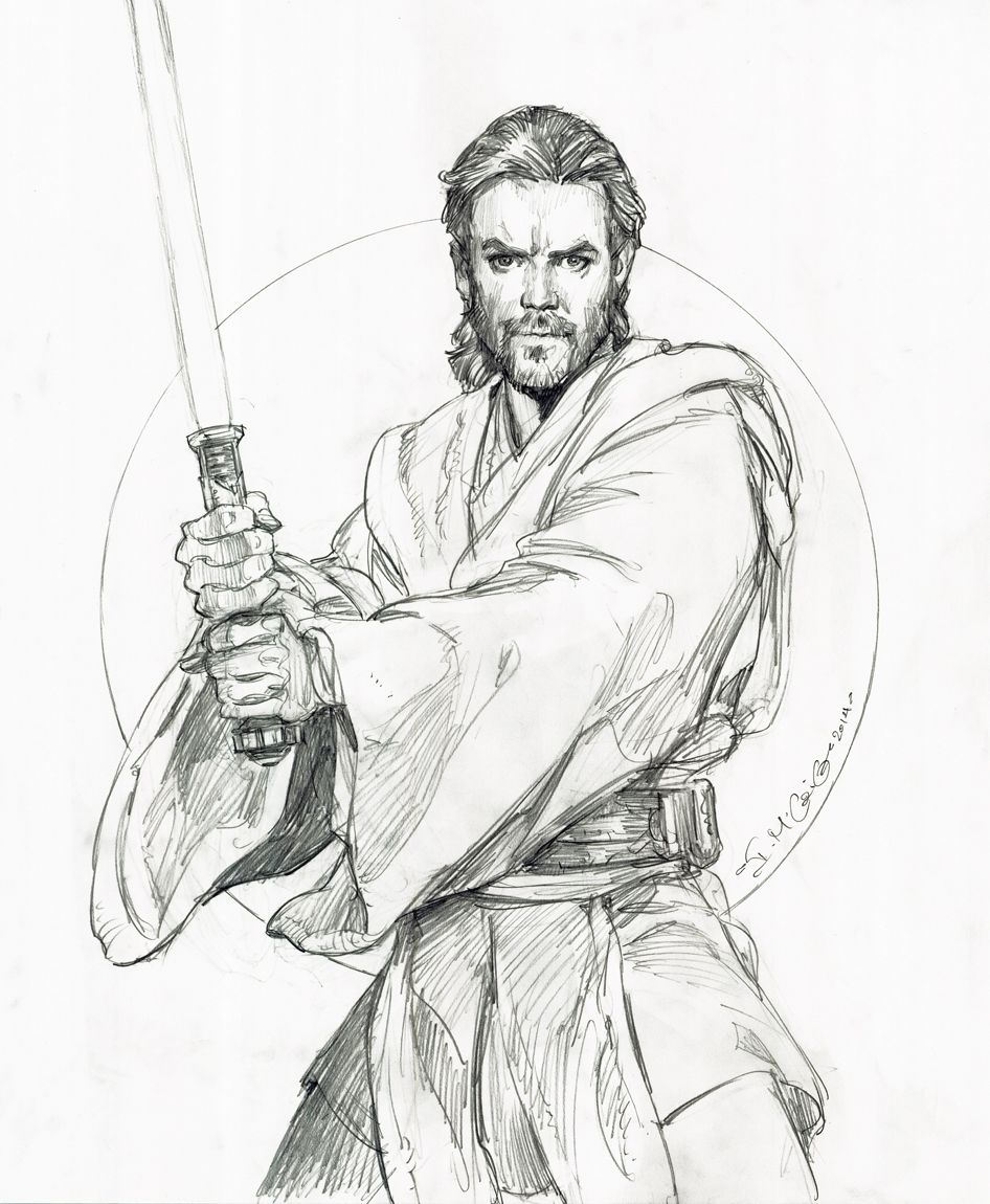 Star Wars Obi Wan Kenobi Iain Mccaig Dessin Star Wars Dessiner