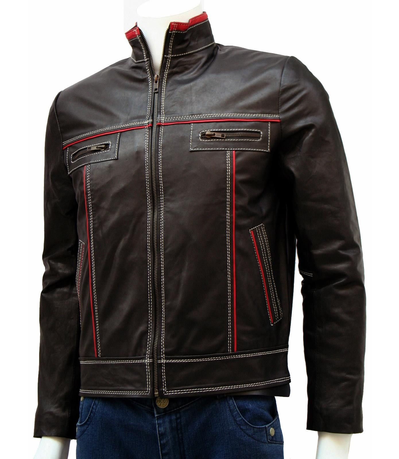Red & Brown Classic Leather Jacket