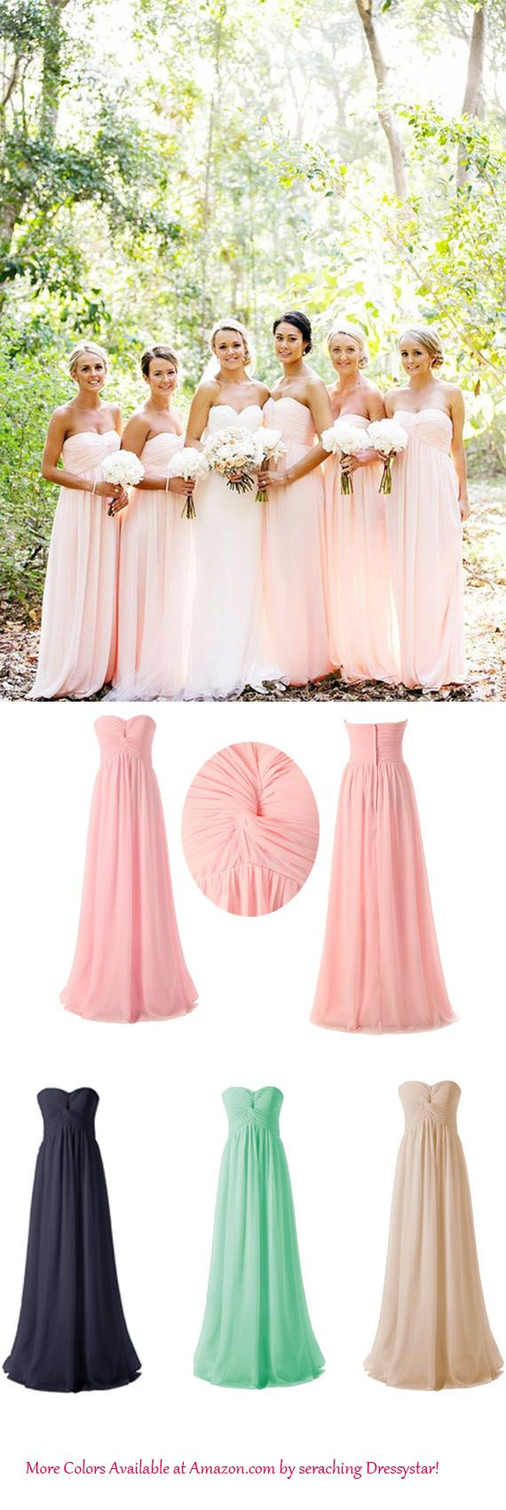 Hot selling sweetheart floor length chiffon pink bridesmaid dress