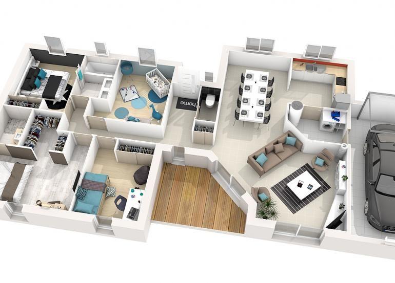 Modele Maison Alya 115m 3d Plans De Maison De Reve Plan Maison 3d Maison Plain Pied