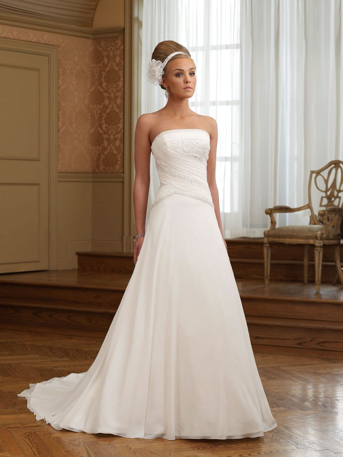 Chiffon Strapless Ruching Bodice A-line Wedding Dress | A-line ...