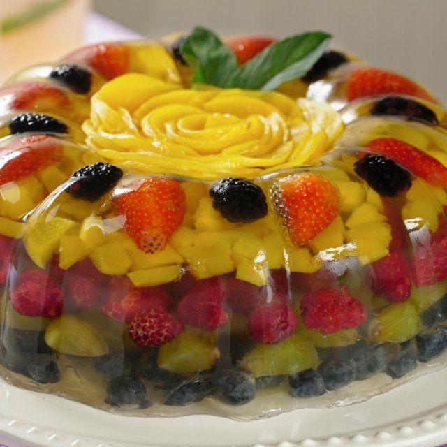 postres de frutas y gelatina