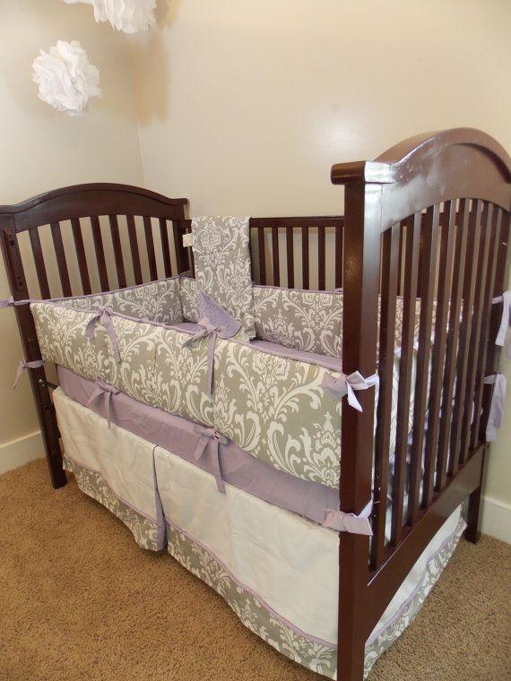 Custom Owl Purple Lavender Yellow Grey Crib Bedding On
