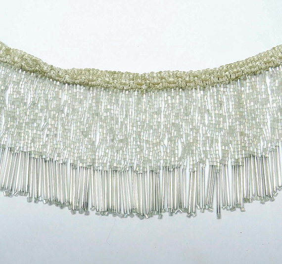 5 Yards Beaded FRINGE Trim for DRAPERY and UPHOLSTERY in Off White Cream color