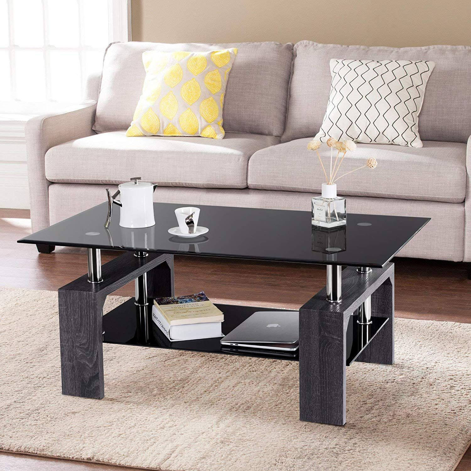 Its Compact Structure And Beautiful Texture Can Surprisingly Highlight Your Home Deco P Black Furniture Living Room Coffee Table With Shelf Glass Coffee Table [ 1500 x 1500 Pixel ]
